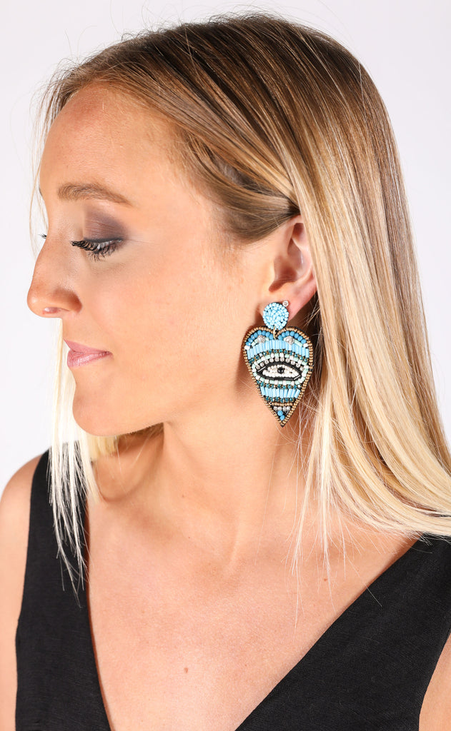 eye heart you statement earrings - turquoise