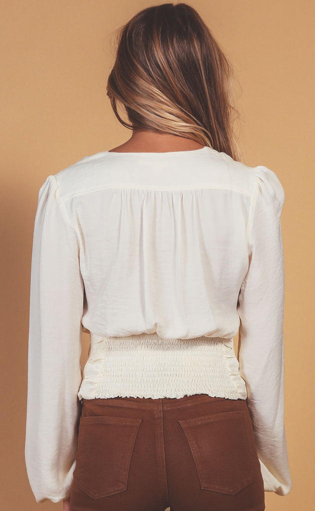 buttoned up ruched blouse - ivory