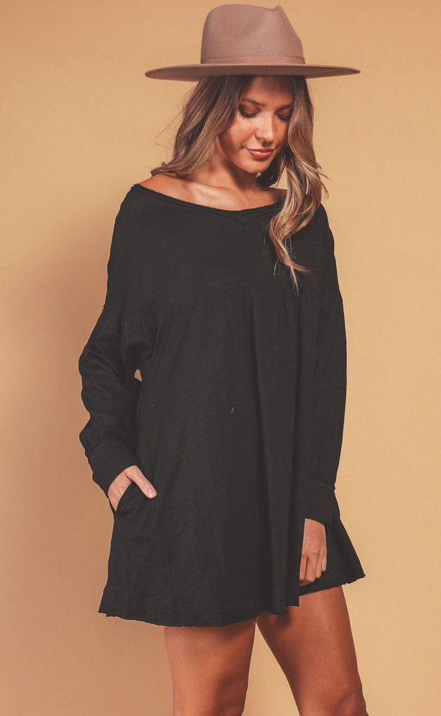 coffee date flowy dress - black