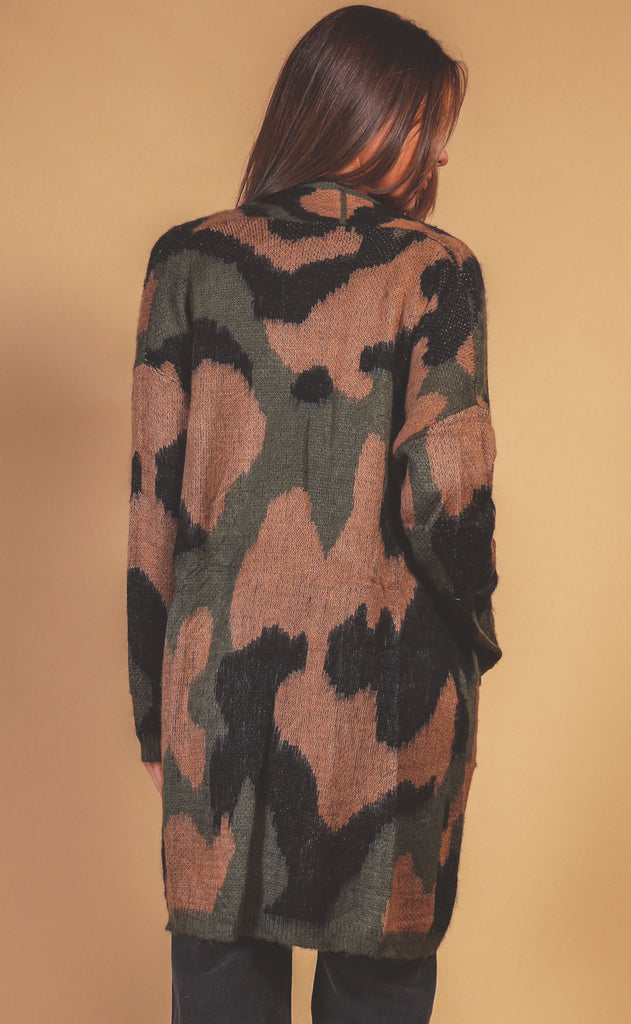 in disguise camo cardigan