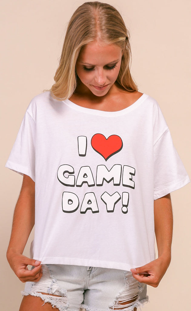 charlie southern: i heart gameday crop t shirt