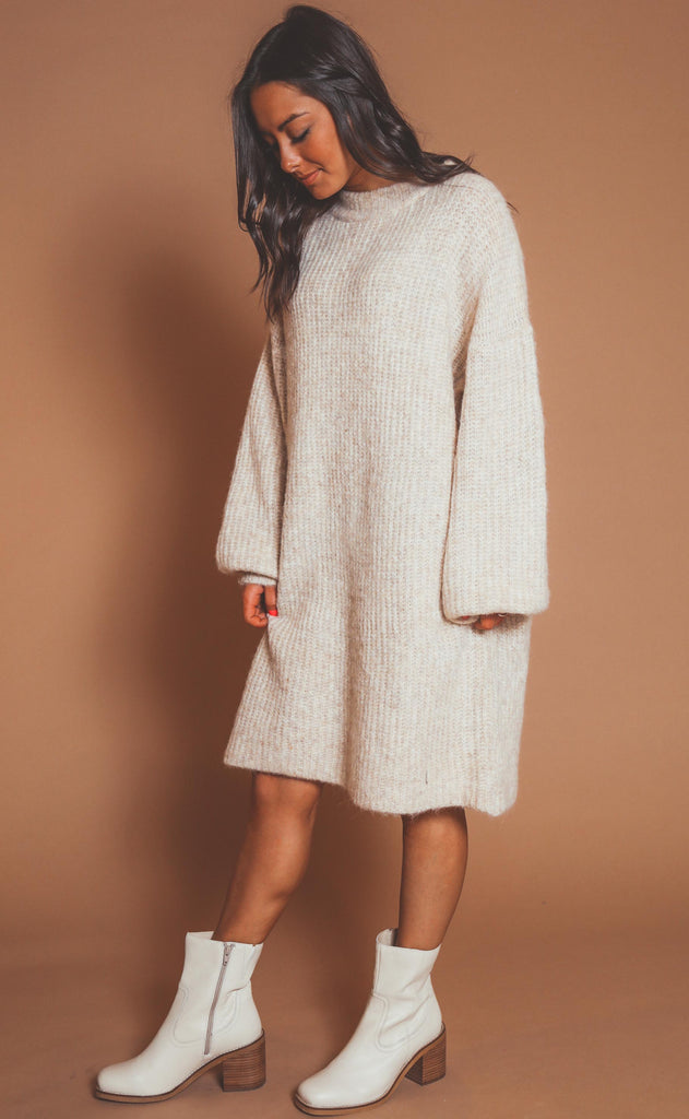 all mine sweater dress - stone