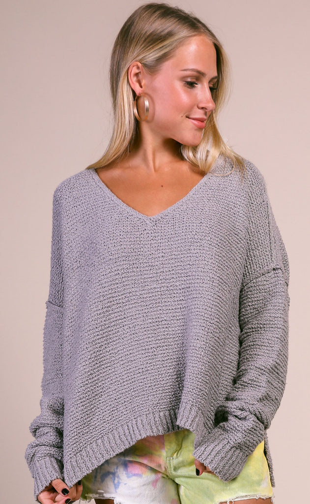 spring forward knit sweater - grey