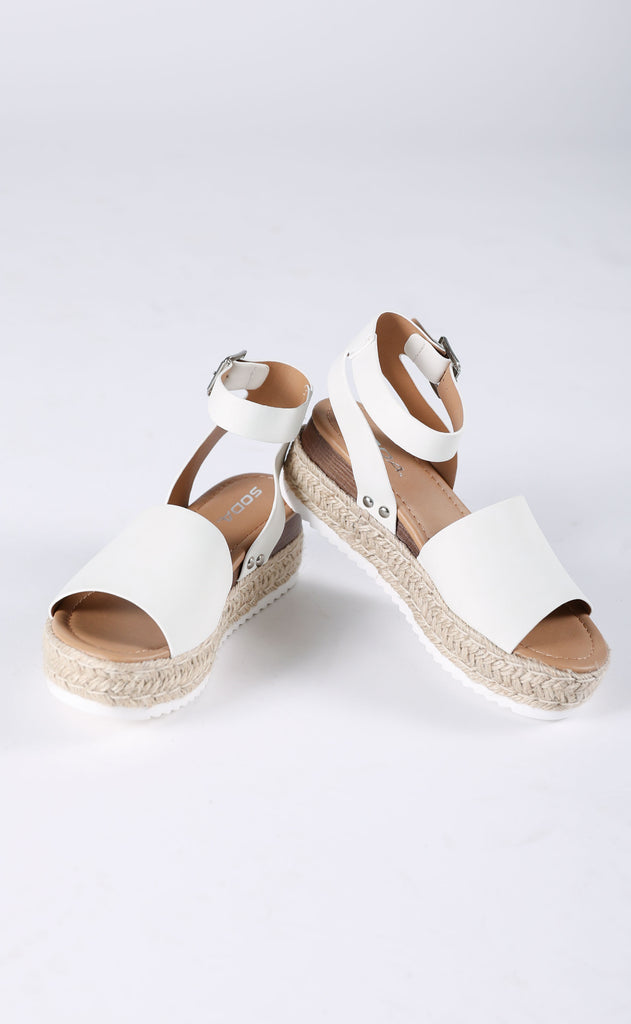roped in platform sandals - white