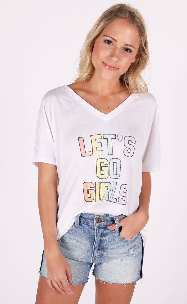 friday + saturday: let's go girls t shirt
