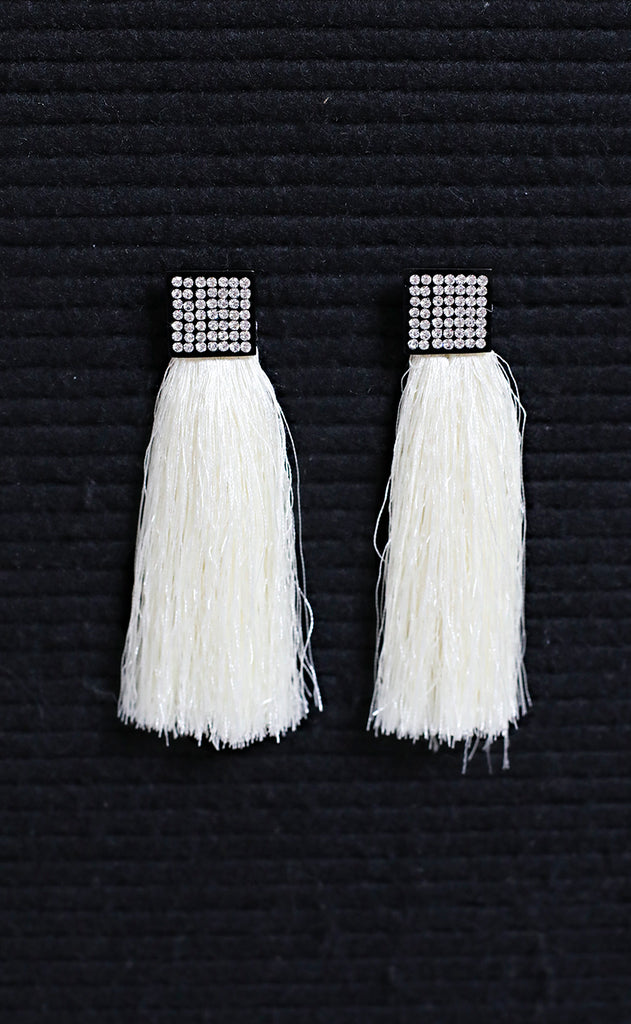 hang out tassel earrings - ivory