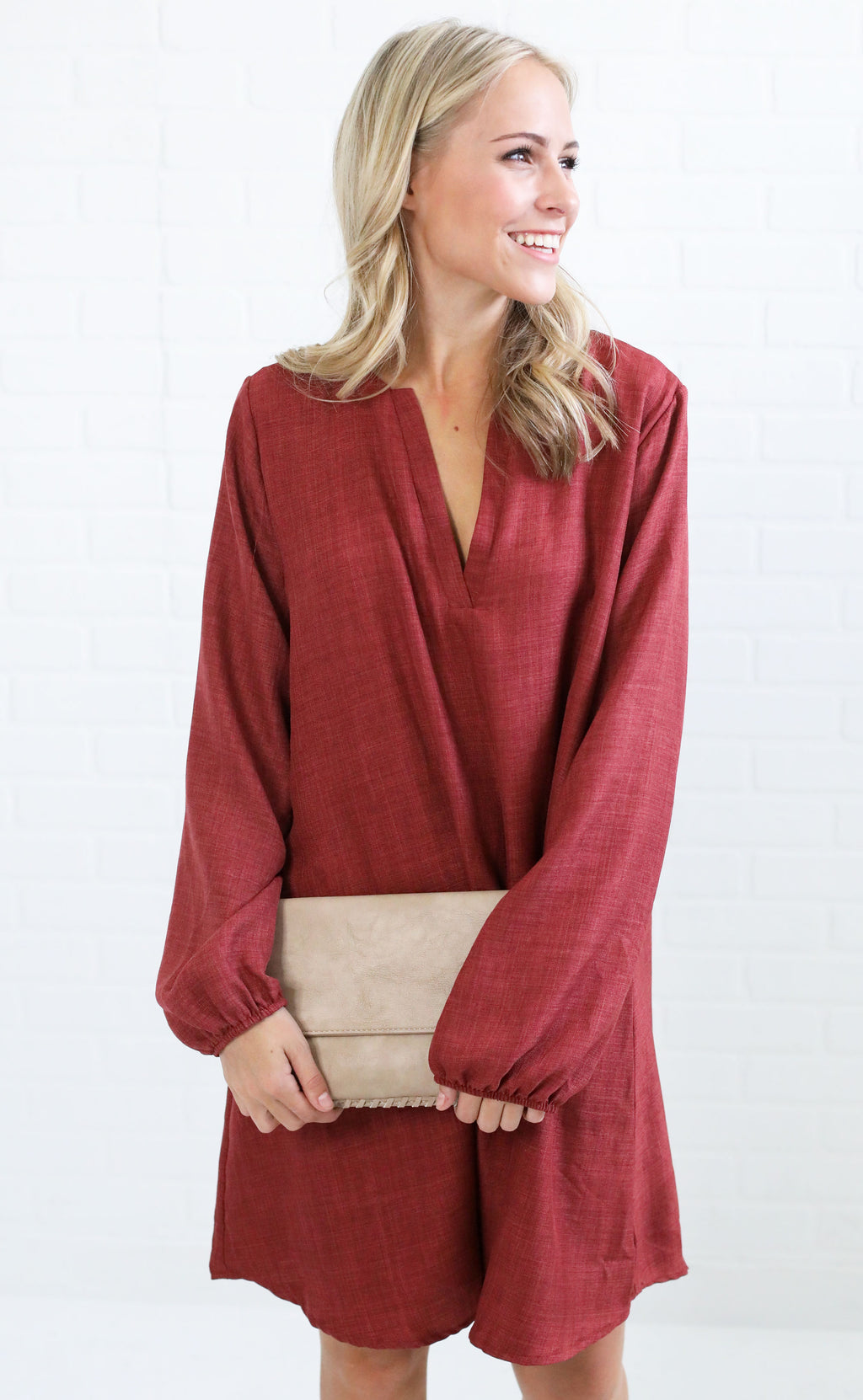 nine to five shift dress - burgundy