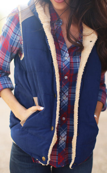 fur the best vest - navy