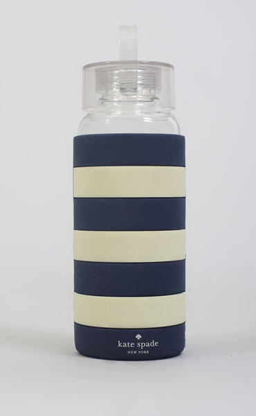 kate spade: water bottle - navy rugby stripe