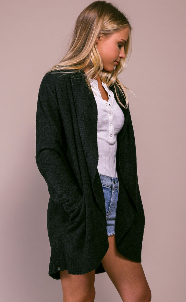 barefoot dreams: cozychic lite circle cardi - black