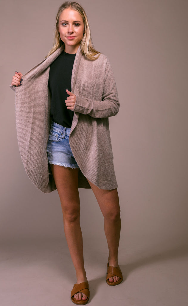 barefoot dreams: cozychic lite circle cardi - taupe