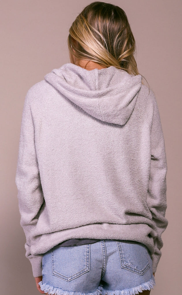 barefoot dreams: cozychic lite women's pullover hoodie - silver
