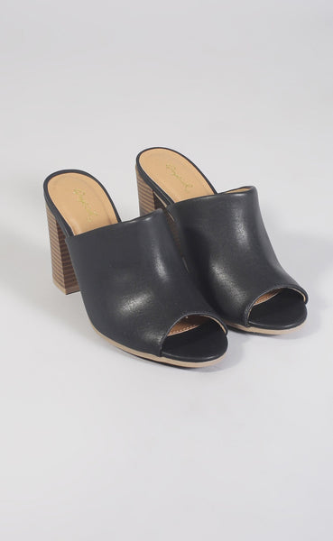 flashback peep toe mule - black