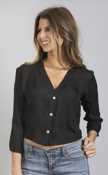 show me your mumu: uptown top - black silky satin