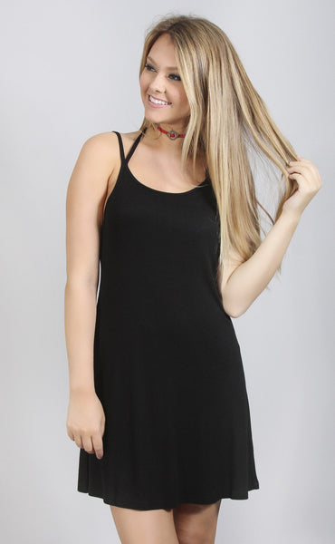 strap happy basic dress - black
