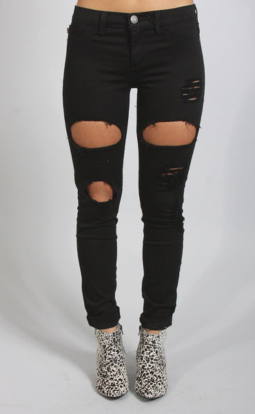 rock out distressed skinny jeans