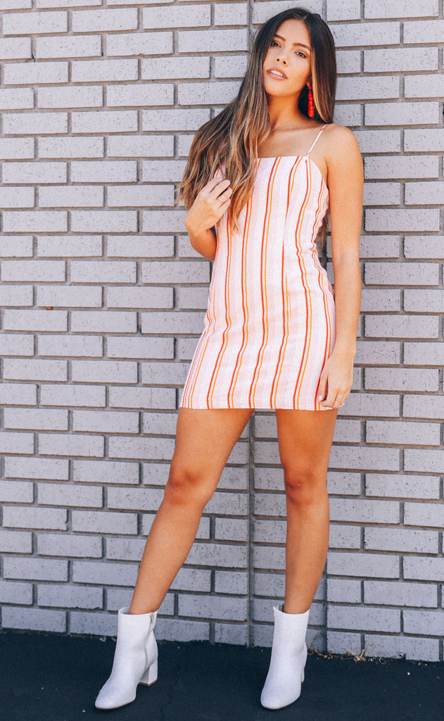 made you blush striped dress
