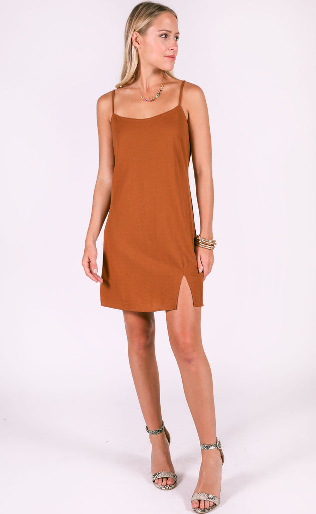 new york slip dress - rust