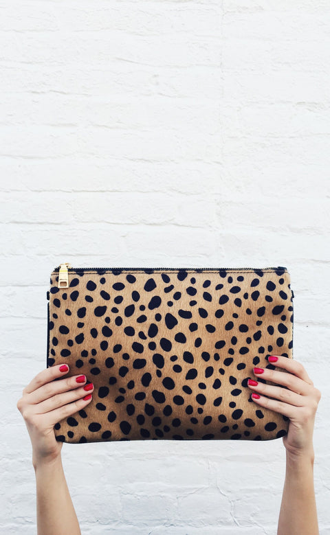 leopard lovin' fur clutch - tan