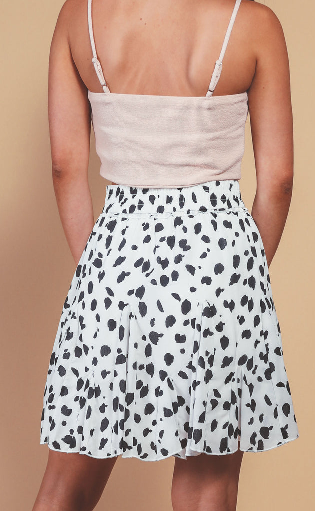 date night leopard skirt - white