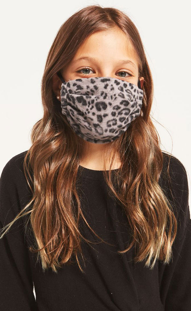 z supply: kids facemask pack of two - leopard grey/black