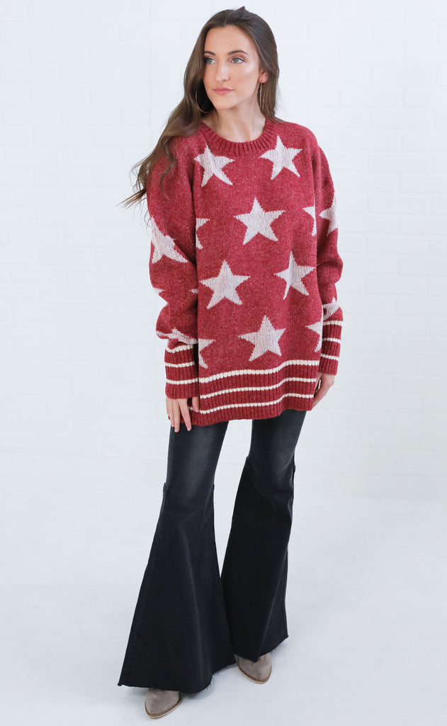 a star is born oversized sweater - red