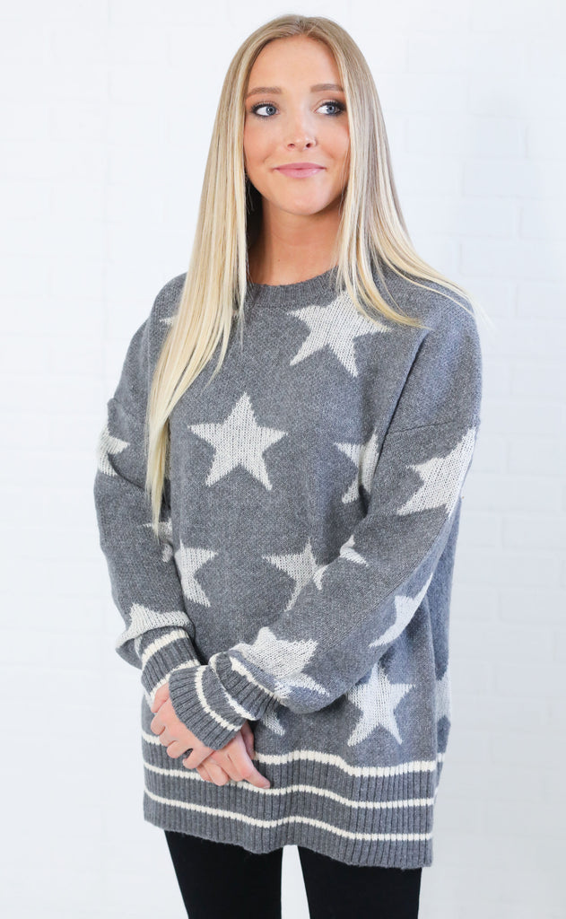 a star is born oversized sweater - grey