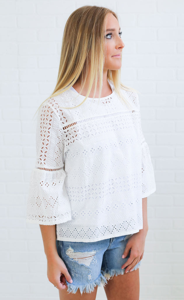 ace of lace embroidered top