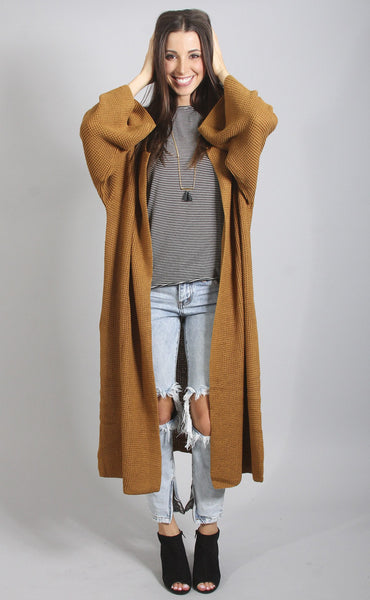 across the universe long cardigan - mustard