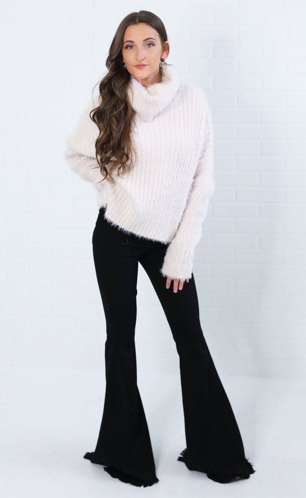 adrienne fuzzy turtleneck sweater