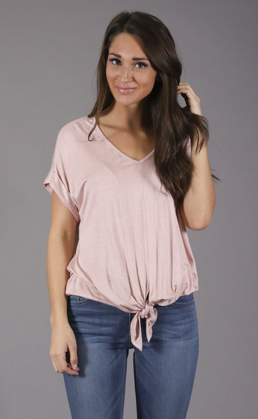 afraid knot casual t shirt - blush