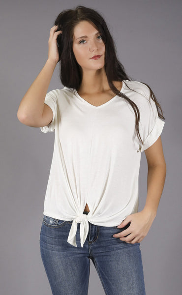 afraid knot casual t shirt - ivory