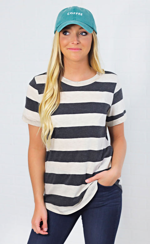 afternoon adventure striped top - ivory