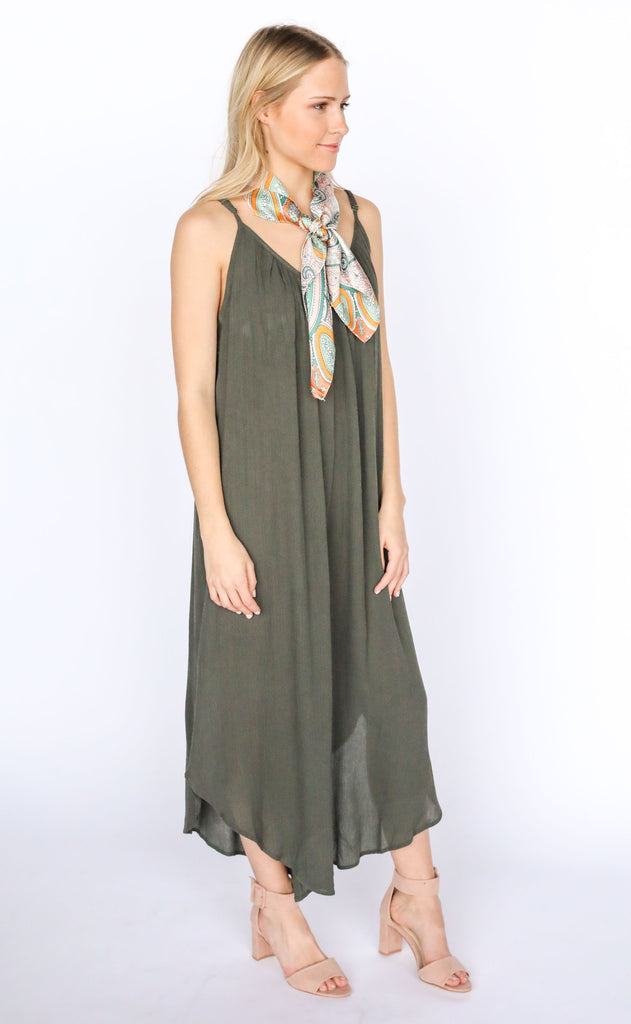 afternoon delight flowy jumpsuit - olive