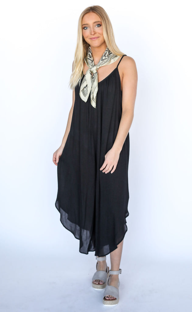 afternoon delight flowy jumpsuit - black