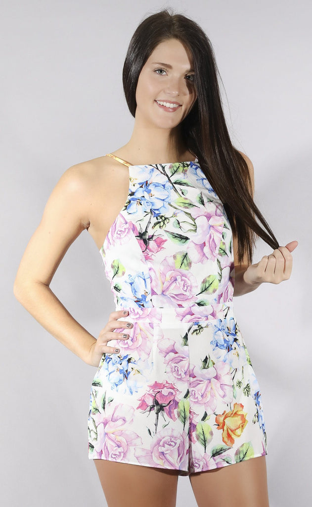 show me your mumu: afton tie back romper - bright floral stretch