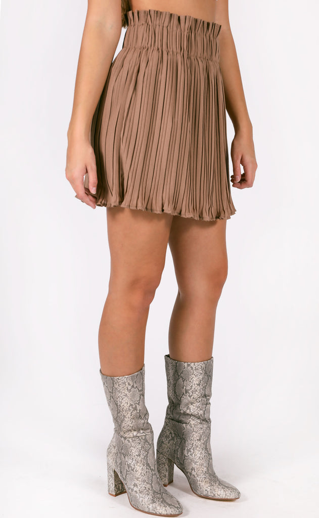 aim to pleat mini skirt - mocha