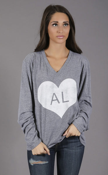 charlie southern: vintage heart long sleeve t shirt - alabama
