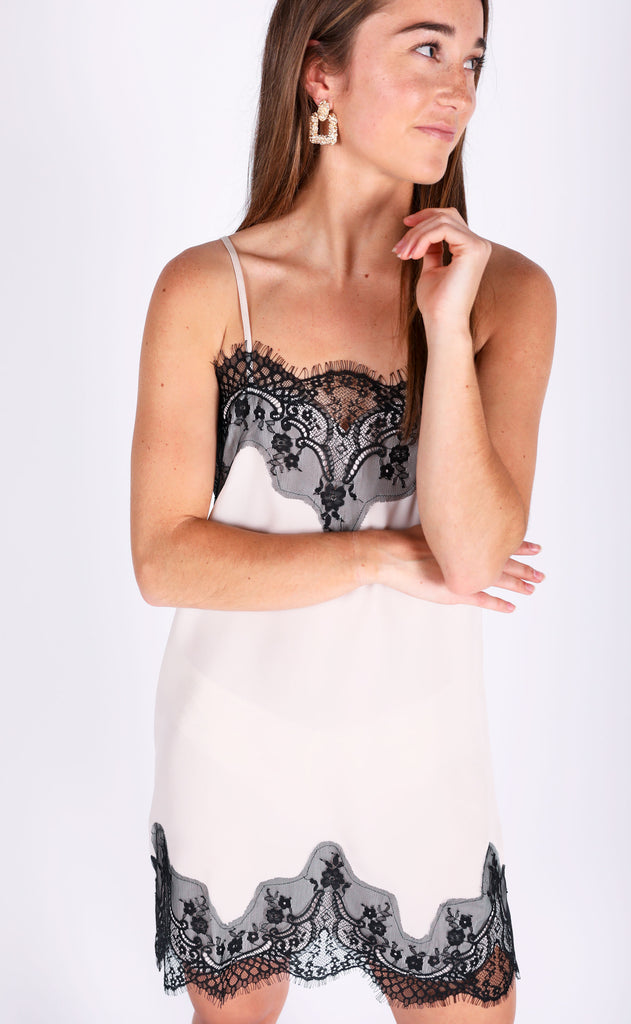 all about that lace slip dress - cream