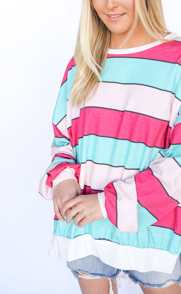 all striped up knit pullover