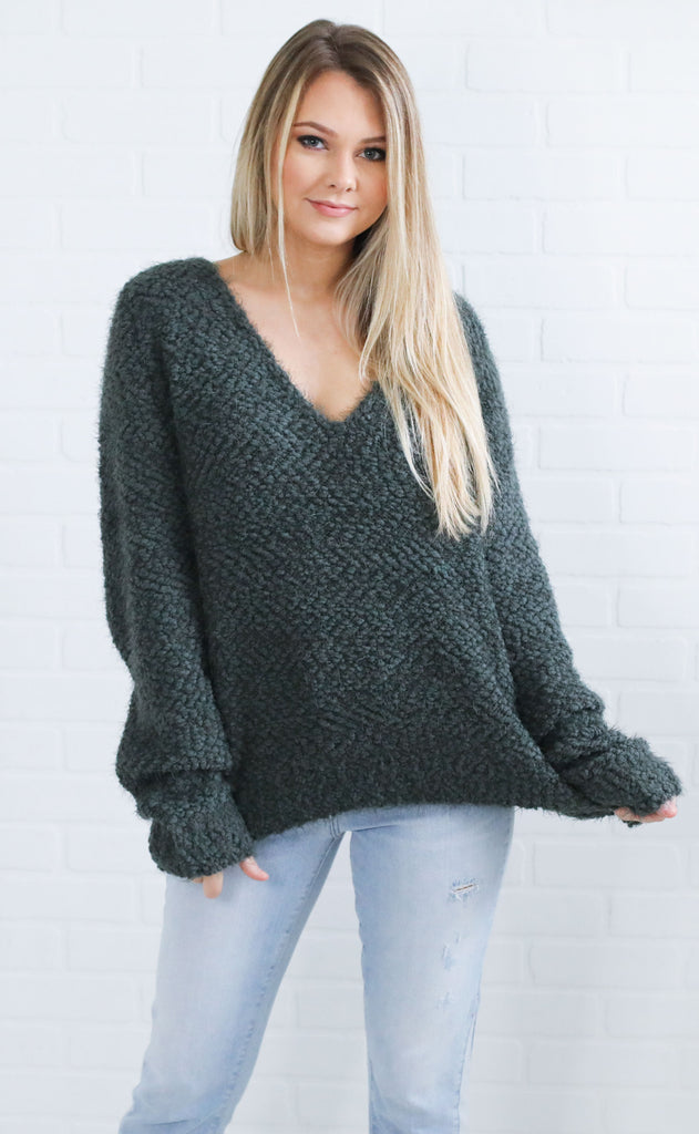 all  wrapped up v-neck sweater