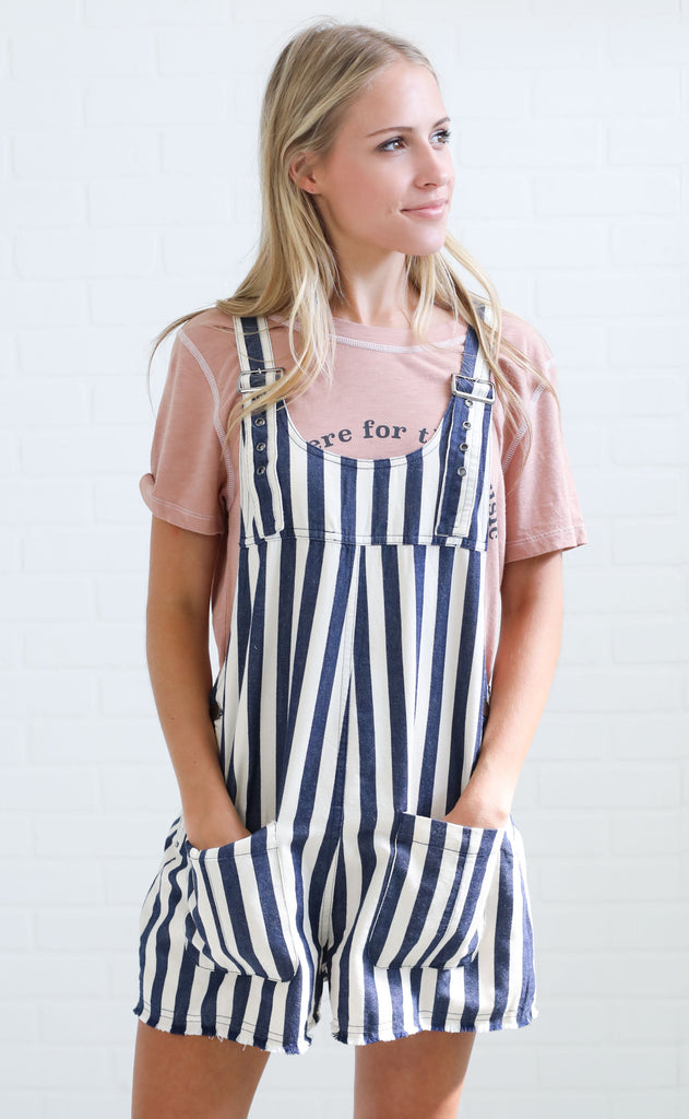 all aboard striped romper