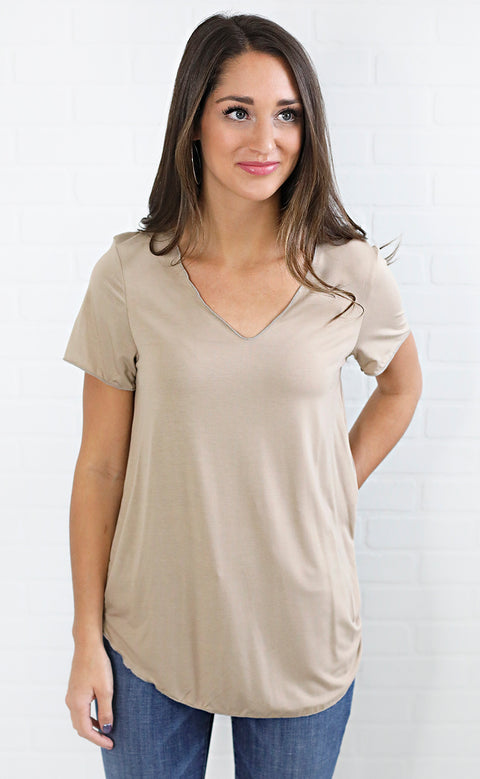 all about it basic t shirt - taupe