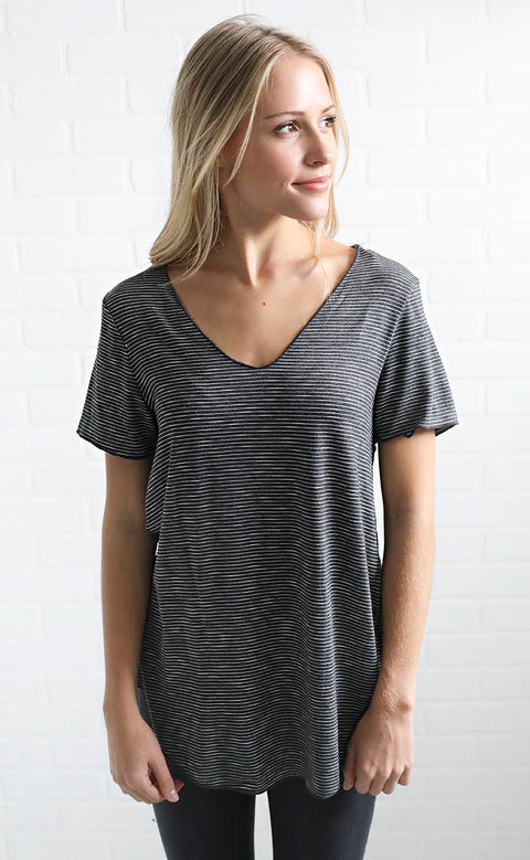 all about it basic t shirt -  charcoal stripe