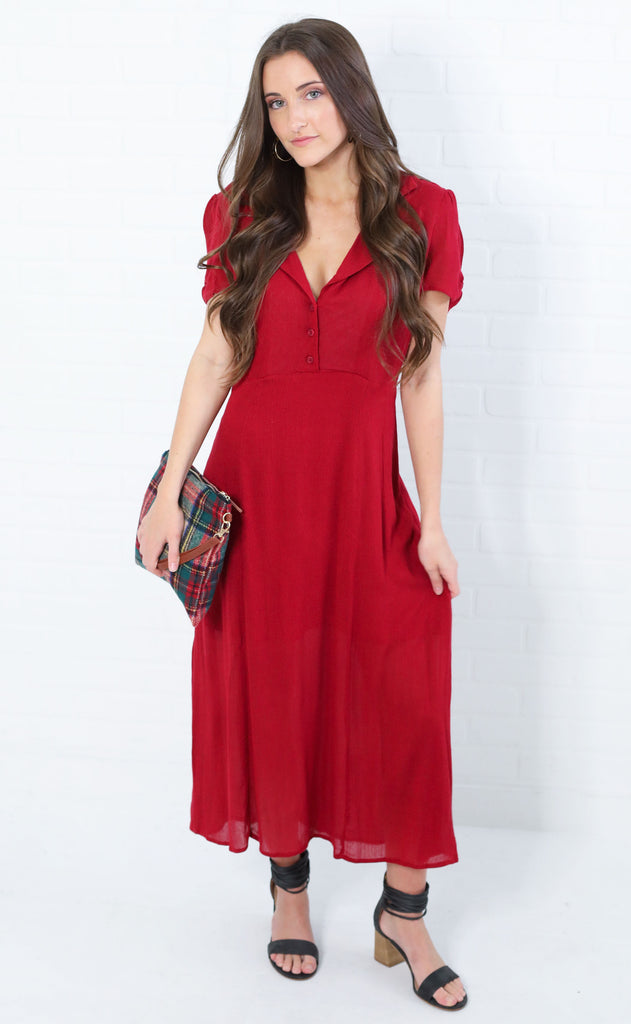all buttoned up midi dress