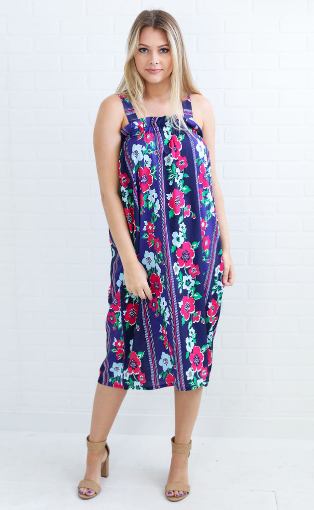 all fleur you printed midi dress