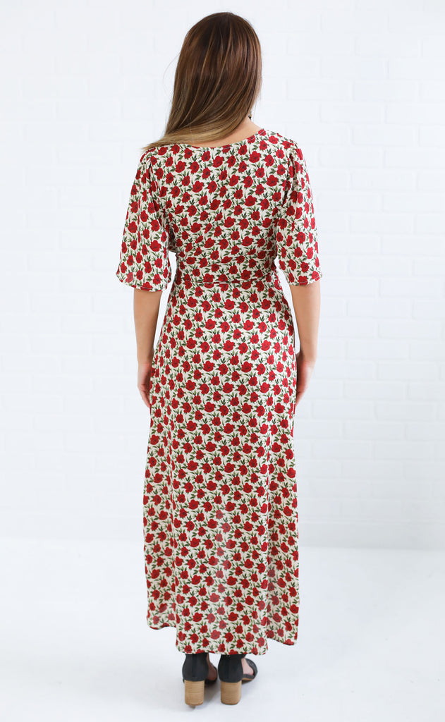 all floral me maxi dress - taupe