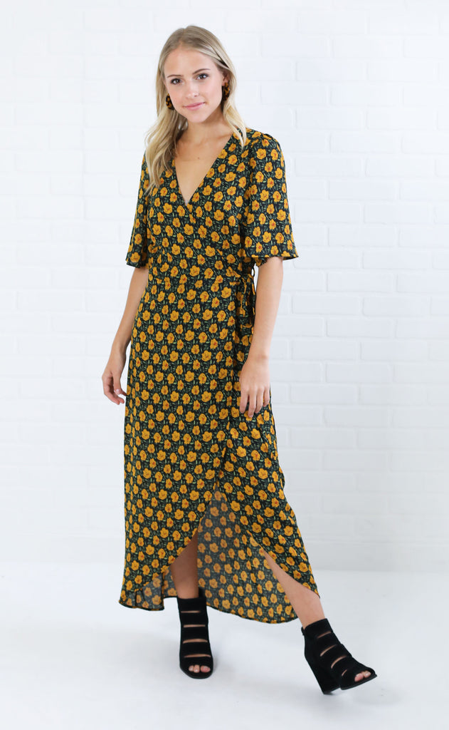 all floral me maxi dress - black