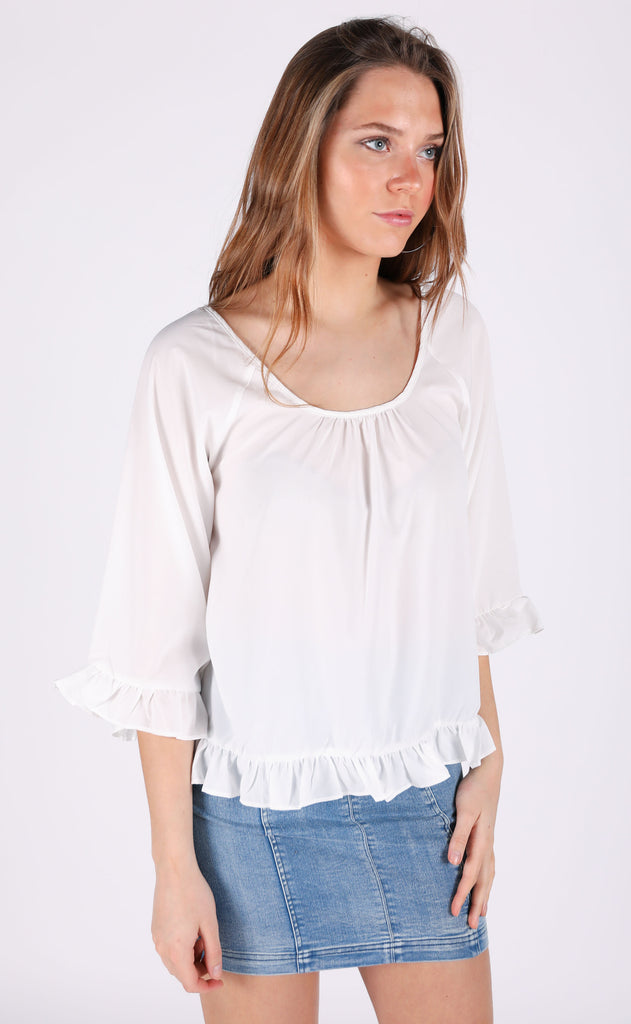 all in a day's work ruffle top - ivory