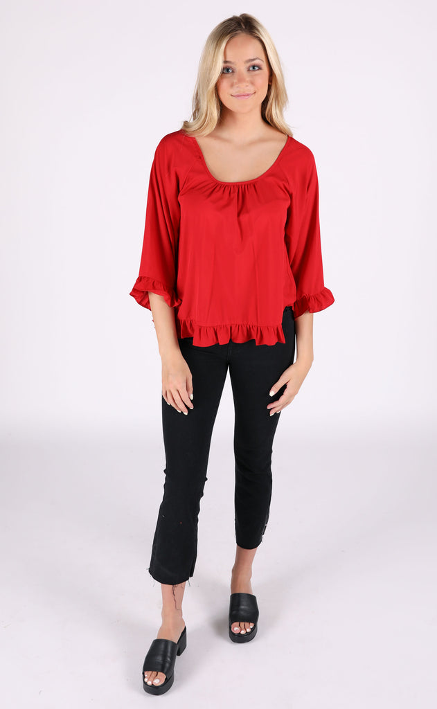all in a day's work ruffle top - red